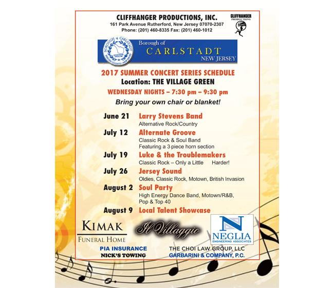 Carlstadt 2017 Summer Concert Series Schedule