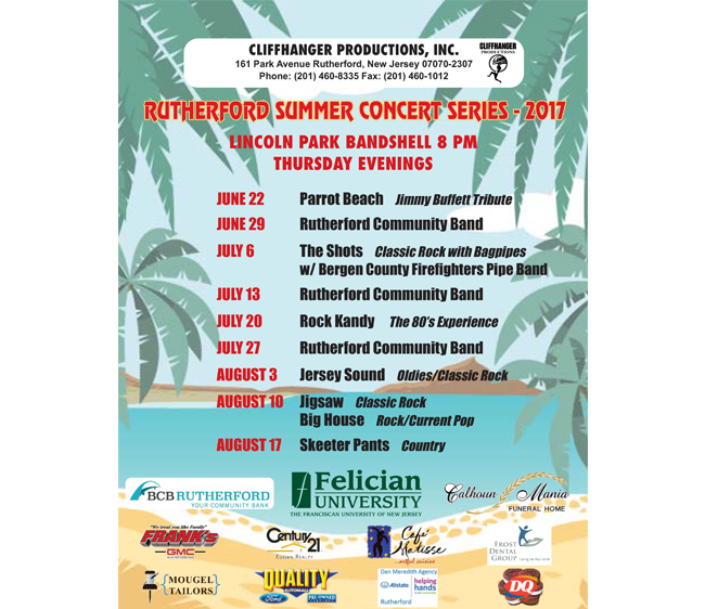 Rutherford Summer Concert Series – 2017